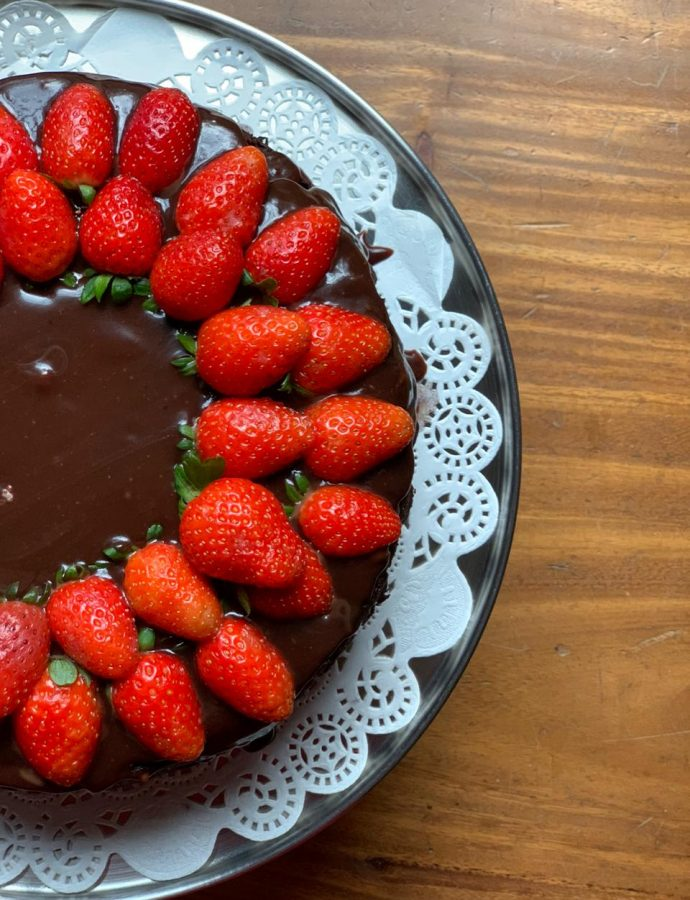 Dark Chocolate Brownie Cake with Strawberries